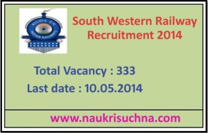 South Western Railway Recruitment 2014 Apply Online for 333 Posts